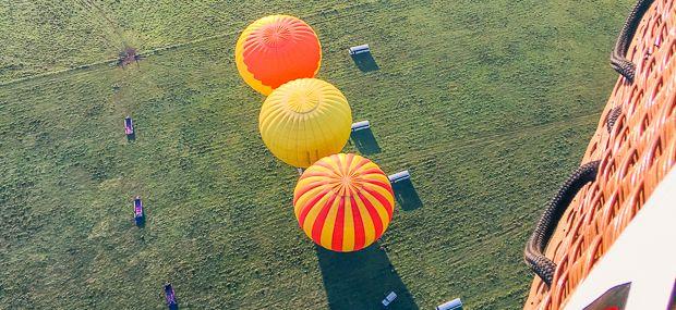 Hot Air Balloon Reflection In Lake Mareeba Atherton Tablelands Queensland Australia